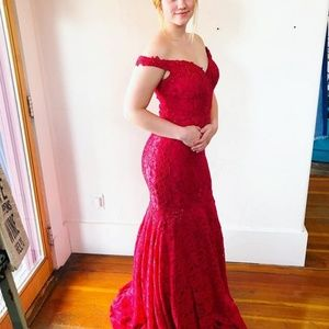 NEW JVN Prom, off the shoulder red lace dress